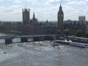 London, England - View from the London Eye Ferris Wheel