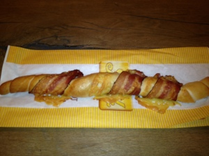 Mmmm... bread wrapped with cheese and bacon!