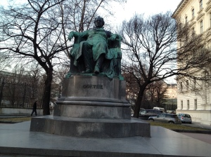 Goethe statue (awesome poet that all of us singers have sung Lieder using his poetry)