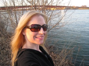Posing by the shore of the Danube