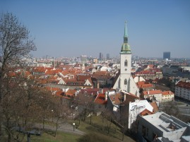 View of the old town section of Bratislava from the Castle