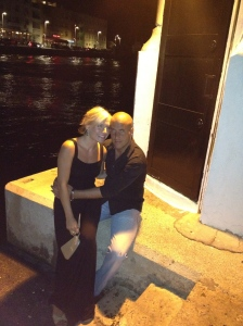 Jen and Miloš waiting for the Barka boat to go to dinner at Kornat. (Restaurant is in background across the water.)