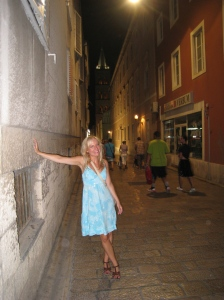Jen in the narrow streets of Old Town Zadar