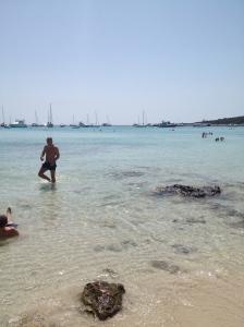 Stealth pic of Miloš walking in the water...