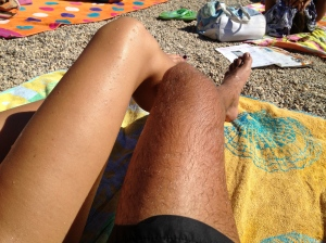 Always comparing our tans... and me always losing - haha!