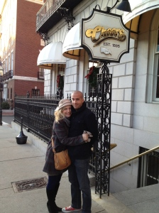 Jen and Miloš in front of Cheers