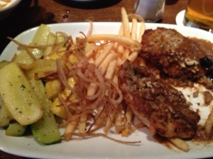 My chicken was excellent, along with the zucchini and fries.  I also got Miloš' onion straws on my plate...