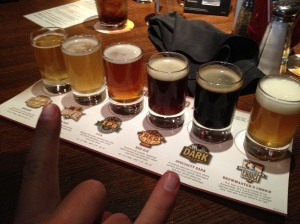 Beer flight for dessert! They had some really yummy ones!