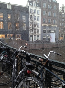Snowing in Amsterdam