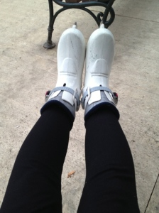 My tricky rental skates - they looked like ski boots.