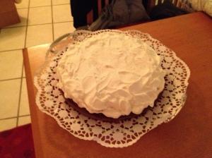 Homemade hazelnut and chocolate birthday cake made by MIloš' mom