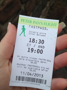 Peter Pan Fast Pass.  They are a bit different in Disneyland Paris