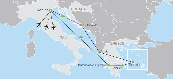 Croatia in relation to Italy and Greece...
