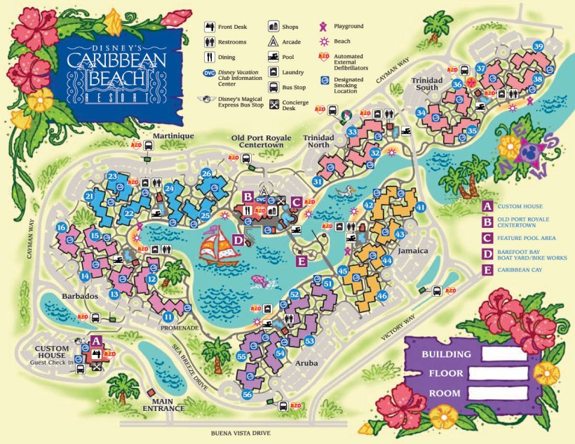 Caribbean Beach Map.  Best villages to stay in are those next to the main building, or right across the water from the main building, via Caribbean Cay.