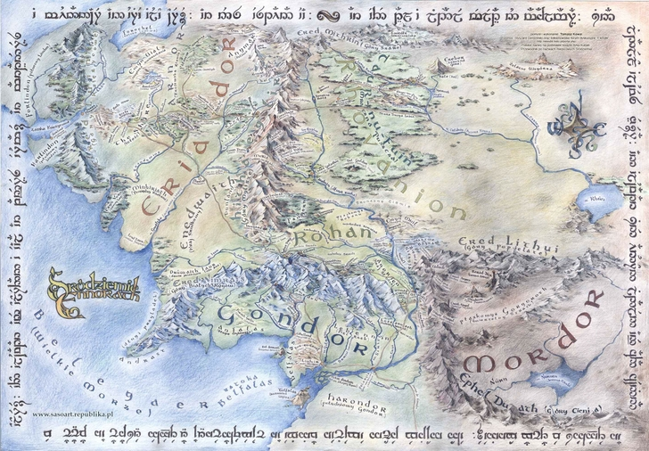 Map of Middle Earth (Lord of the Rings / Hobbit)