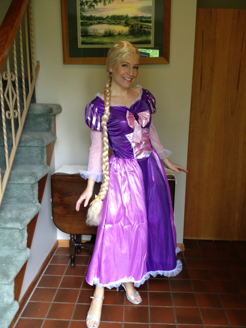 Rapunzel costume with the super-long-braid wig...