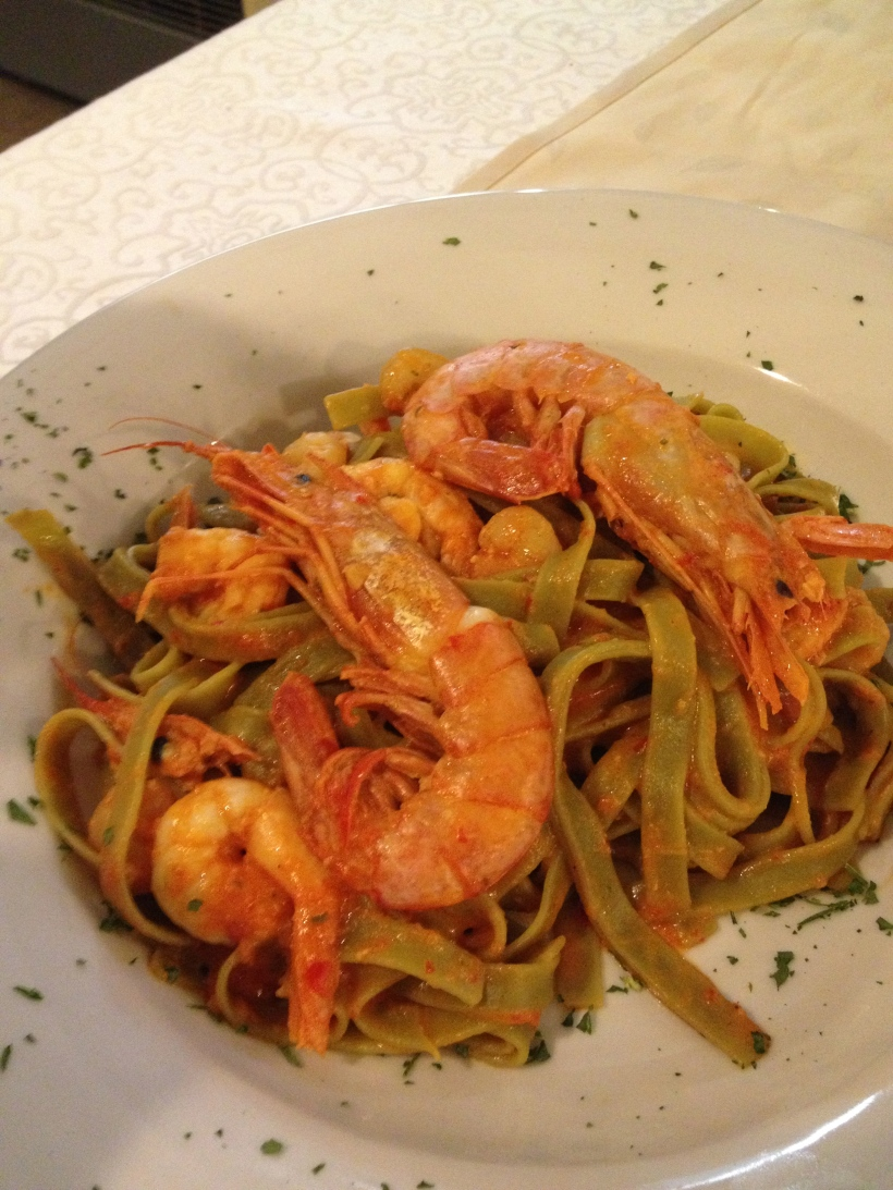 Tasty pasta with shrimp and scampi