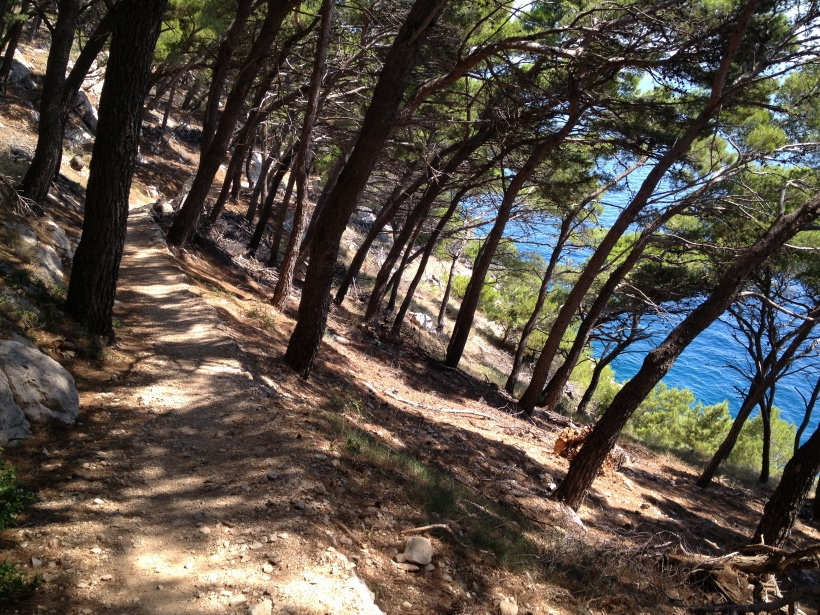 Hiking through the forest to get to the nude beach in Makarska.