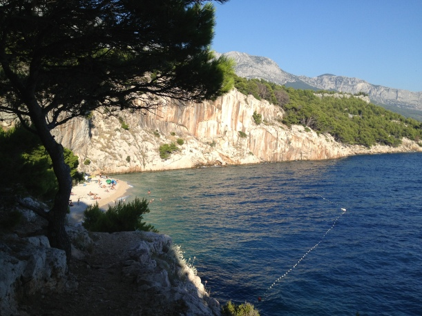 Looking towards the nude beach in Makarska.