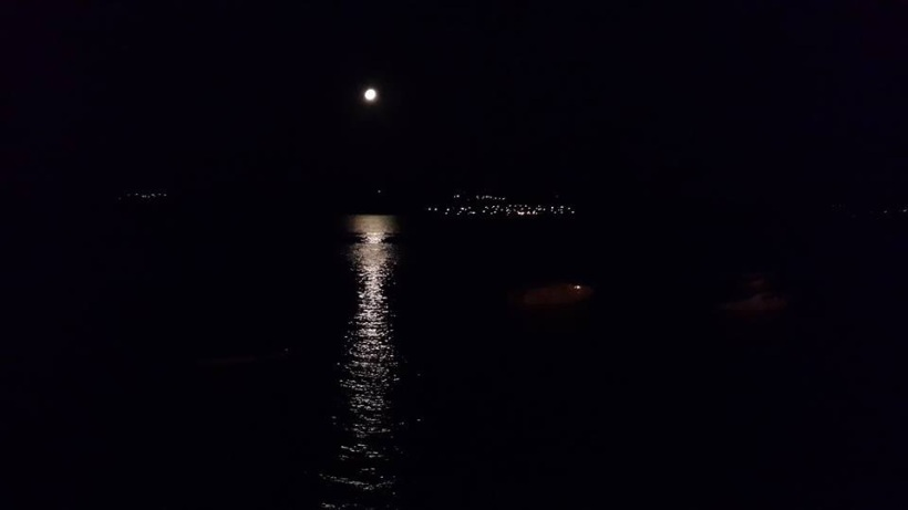 The moon on the sea our last night.