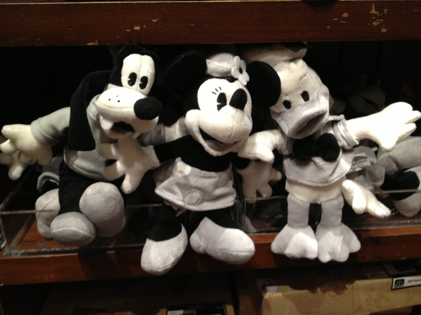 Vintage looking black and white plush toys at the Tower of Terror gift shop.