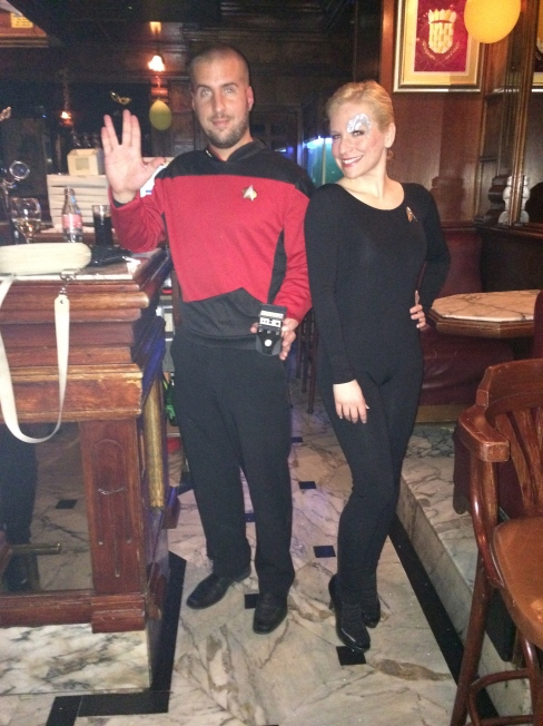The one week, Miloš was Captain Picard and I was Seven of Nine.  (We're Trekkies!)