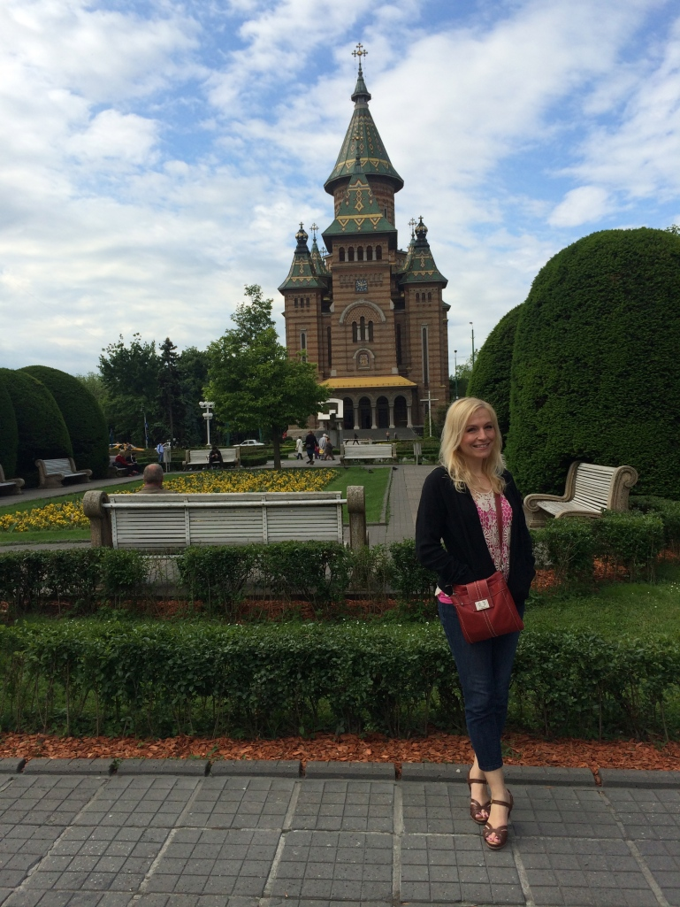 Posing in front of the orthodox cathedral
