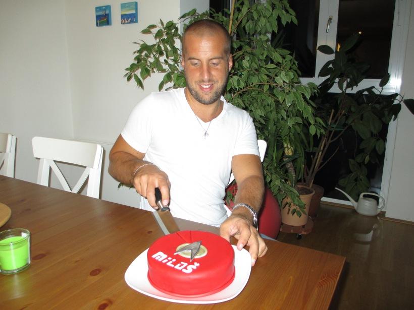 Cutting the cake...