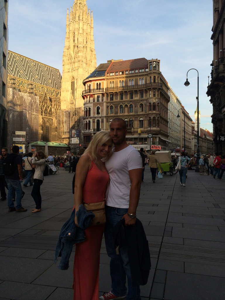 It's now become a tradition for us to get our pic taken at Stephansplatz with the cathedral in the background.  We do it every time Miloš comes through Vienna.  So before dinner, we made a quick stop to get our pic!
