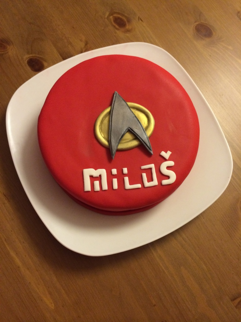 Our Star Trek TNG Combadge cake