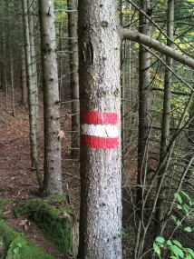 Austrian flag trail markers