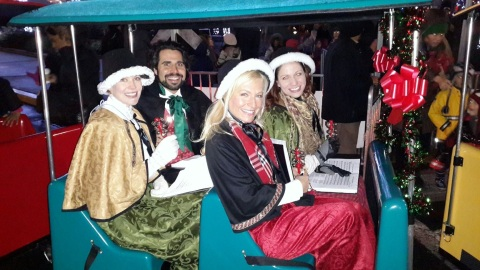 Singing on the Christmas train at the Newport Tree Lighting in Jersey City