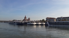 All the river cruise ships docked along the Danube