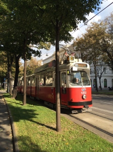 Tram driving down the street in Vienna