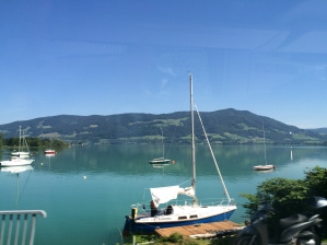 Driving along the edge of Mondsee