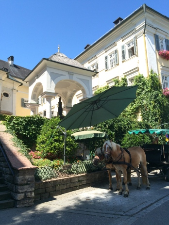 Horse drawn carriage outside the church