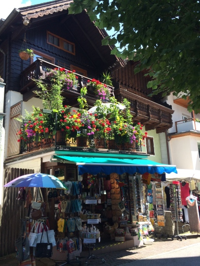 Flowers adorning a little shop