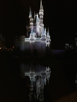 The castle lit up with the icicle lights