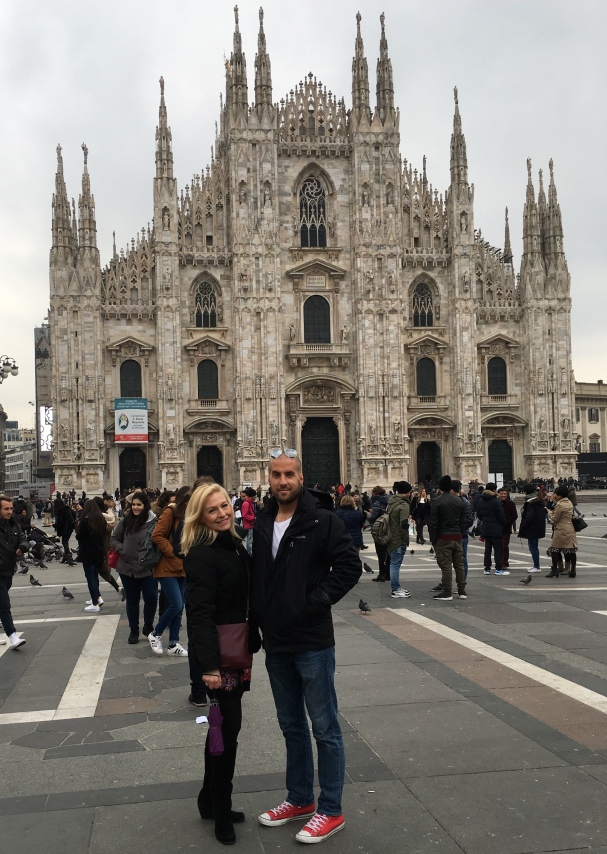 Jen and Milos at the Milan Cathedral