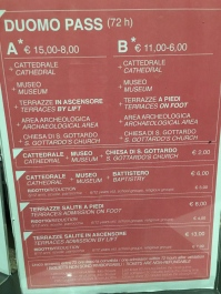 Prices for the cathedral