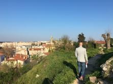 Milos hiking the castle grounds