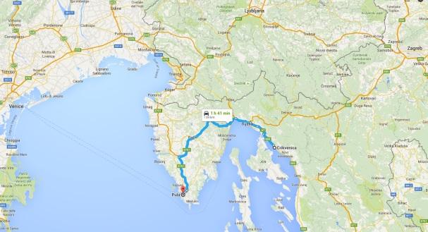 The route from Crikvenica to Rijeka