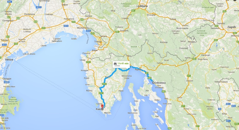 The route from Crikvenica to Rijeka